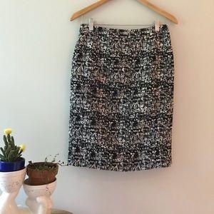 Nordstrom Halogen Black White Tweed Pencil Skirt 4